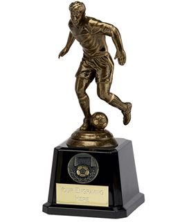 "Antique Gold Icon Footballer on Large Black Base 19cm (7.5"")"