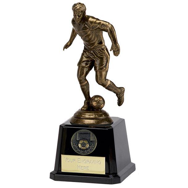 "Antique Gold Icon Footballer on Large Black Base 19cm (7.5"")"