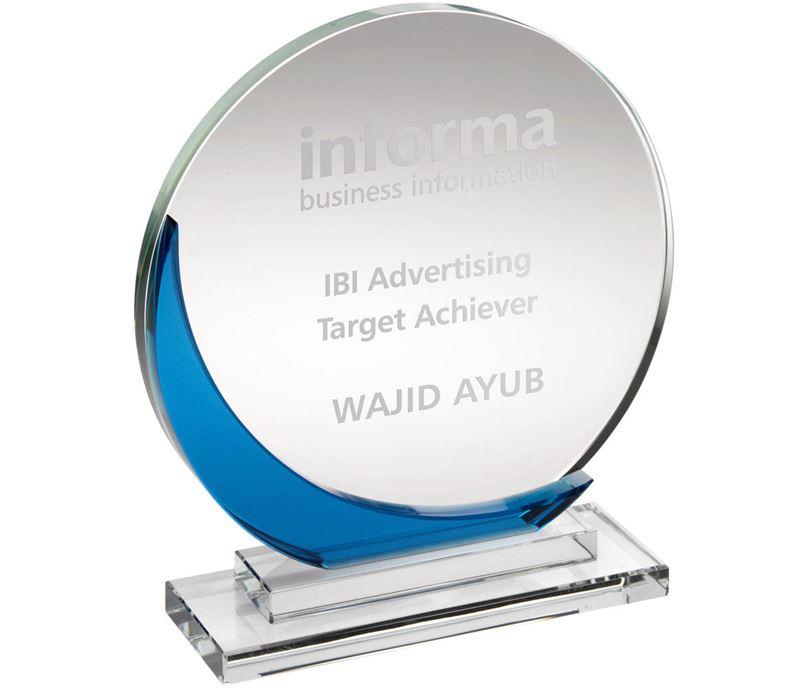 "Clear & Blue Glass Round Plaque Award 15cm (6"")"