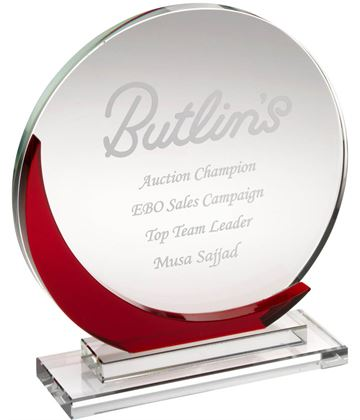 """Clear & Red Glass Round Plaque Award 15cm (6"""")"""