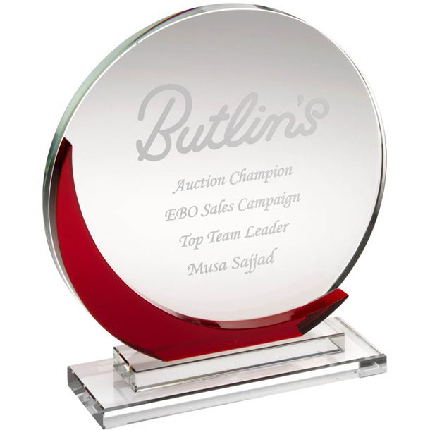 "Clear & Red Glass Round Plaque Award 17cm (6.75"")"