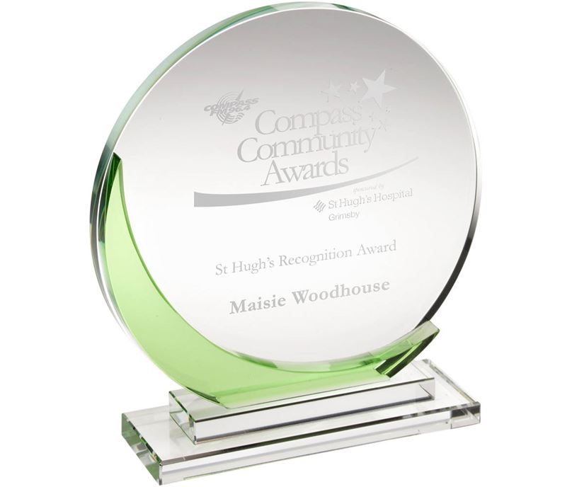 "Clear & Green Glass Round Plaque Award 19cm (7.5"")"