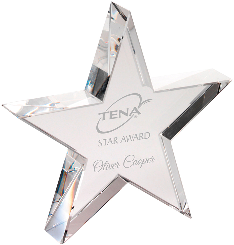"Optical Crystal Star Plaque with Presentation Box 20.5cm (8"")"