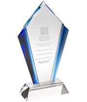"Clear Glass Pointed Flame Plaque Award With Blue Edges 18.5cm (7.25"")"