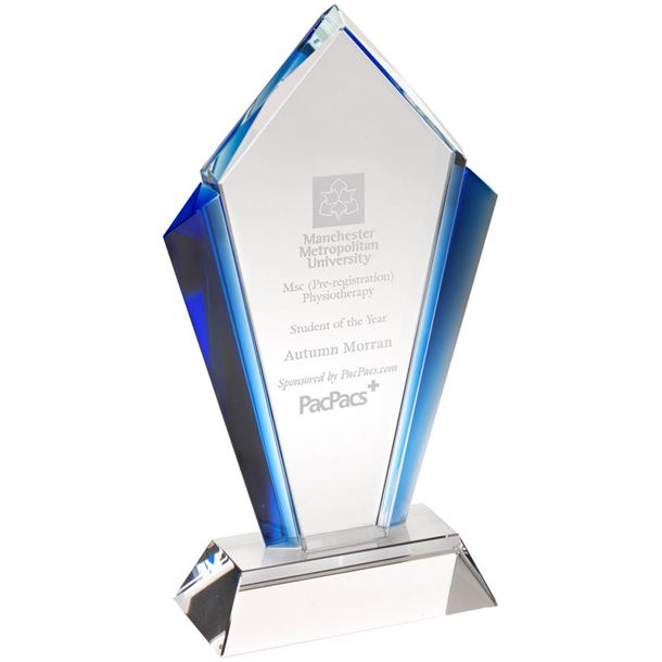 "Clear Glass Pointed Flame Plaque Award With Blue Edges 23.5cm (9.25"")"