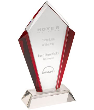 "Clear Glass Pointed Flame Plaque Award With Red Edges 18.5cm (7.25"")"