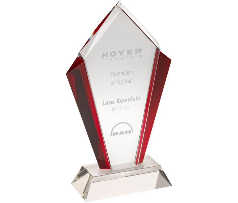 "Clear Glass Pointed Flame Plaque Award With Red Edges 21cm (8.25"")"