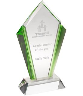 """Clear Glass Pointed Flame Plaque Award With Green Edges 23.5cm (9.25"""")"""