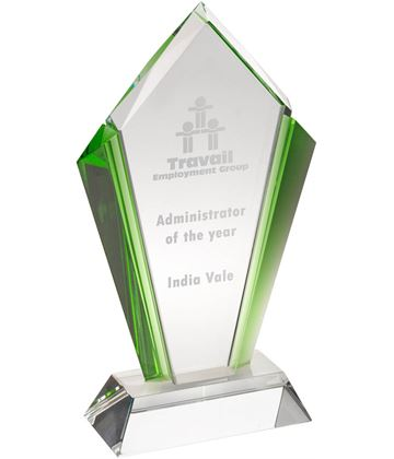 "Clear Glass Pointed Flame Plaque Award With Green Edges 18.5cm (7.25"")"