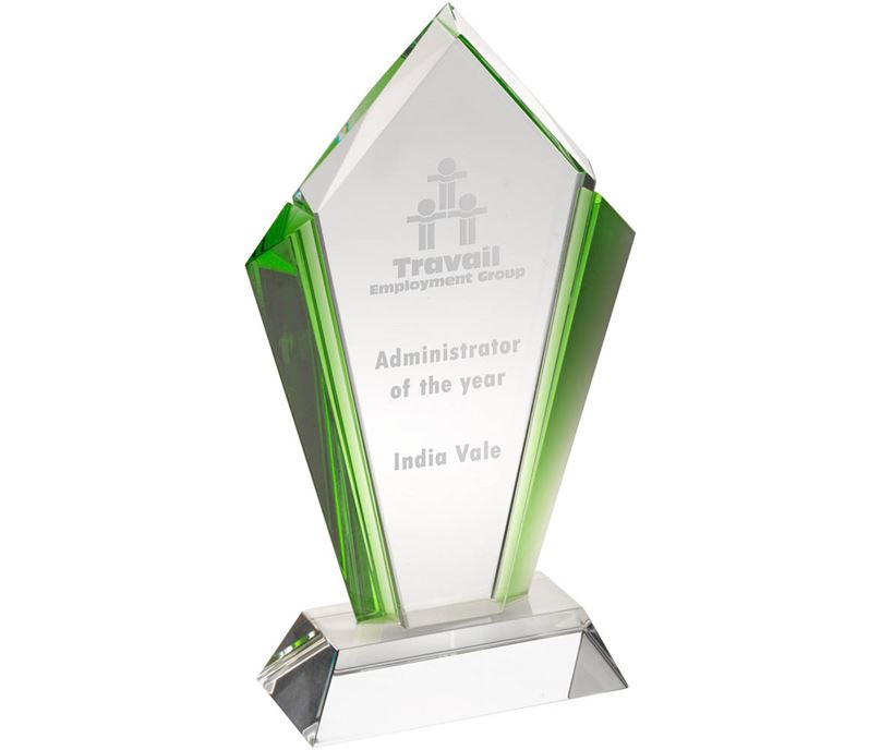 "Clear Glass Pointed Flame Plaque Award With Green Edges 23.5cm (9.25"")"