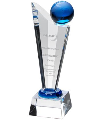 "Clear Blue Glass Victory Plaque With Blue Globe 20.5cm (8"")"