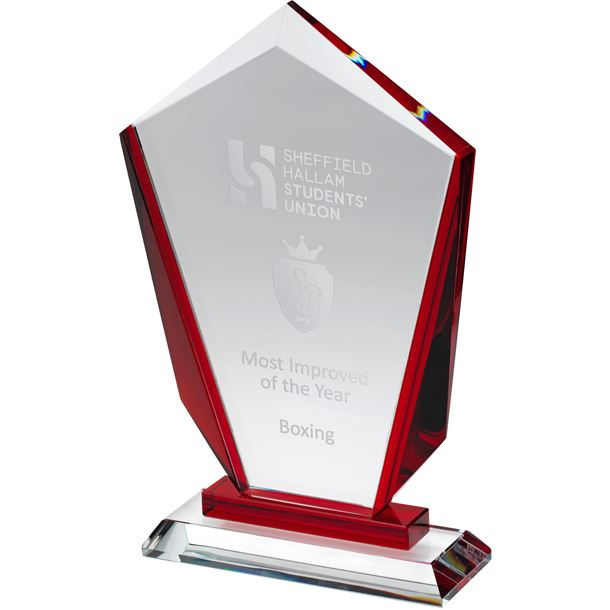 """Red & Clear Glass Award 22cm (8.75"""")"""