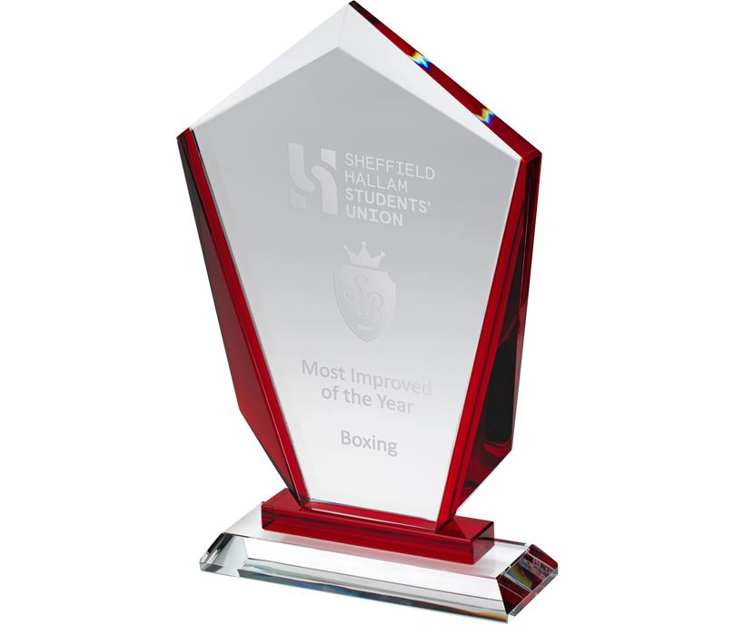 "Red & Clear Glass Award 22cm (8.75"")"