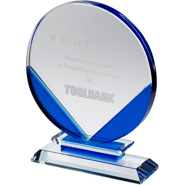 "Clear & Blue Round Glass Plaque Award 17cm (6.75"")"