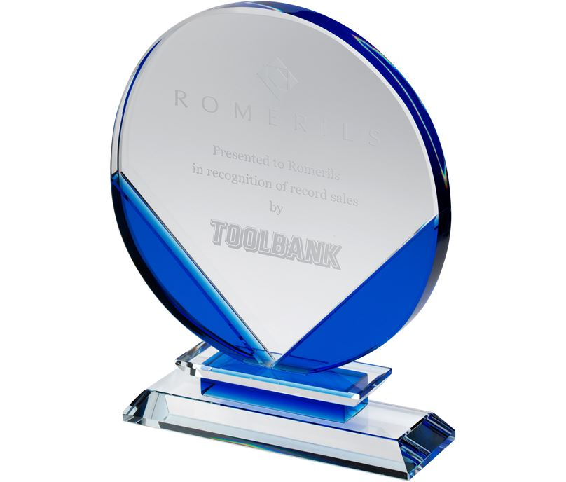 "Clear & Blue Round Glass Plaque Award 19cm (7.5"")"