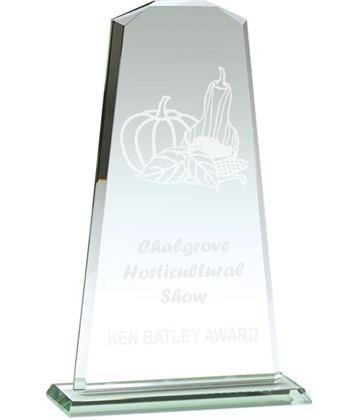 "Towering Flair Jade Glass Award 23cm (9"")"