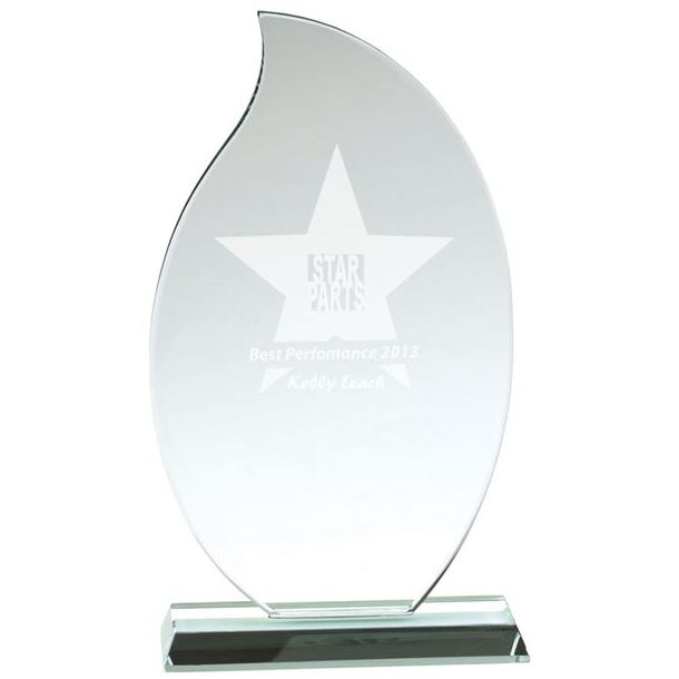 "Flaming Jade Glass Plaque Award 18.5cm (7.25"")"