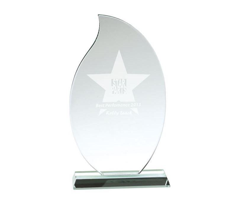 """Flaming Jade Glass Plaque Award 23cm (9"""")"""