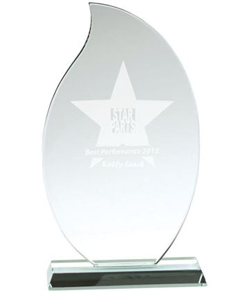 "Flaming Jade Glass Plaque Award 25.5cm (10"")"
