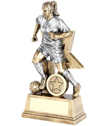 "Female Action Footballer With Star Trophy Antique Silver & Gold 15cm (6"")"