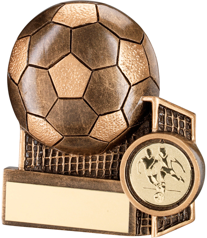 "Gold Football & Net Flatback Trophy 11cm (4.25"")"