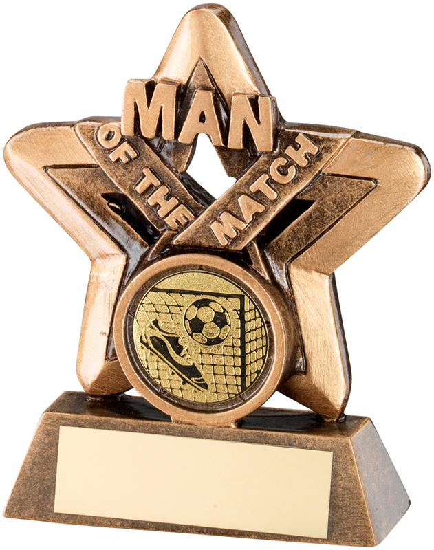 "Gold Man Of The Match Mini Star Football Trophy 9.5cm (3.75"")"