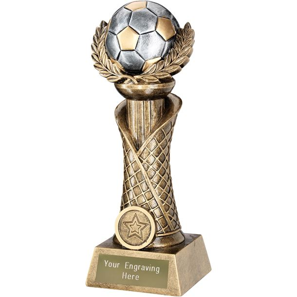 "Football Laurel Wreath Net Column Trophy Gold with Silver Detail 16.5cm (6.5"")"