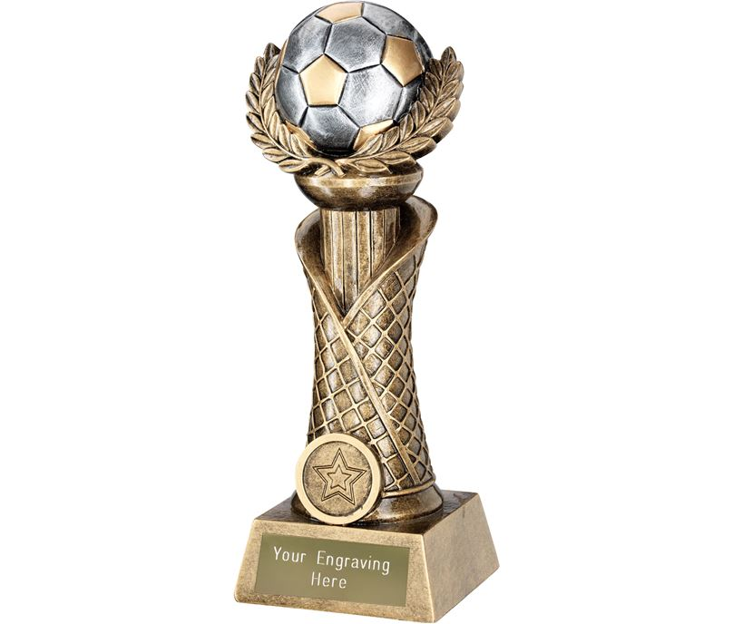 "Football Laurel Wreath Net Column Trophy Gold with Silver Detail 21.5cm (8.5"")"