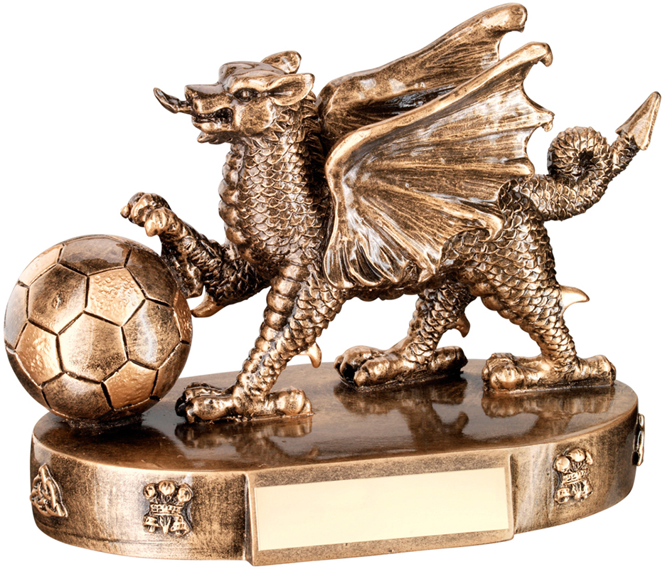 "Gold Resin Welsh Dragon Football Trophy 12.5cm (5"")"