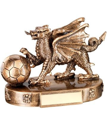 "Gold Resin Welsh Dragon Football Trophy 11cm (4.25"")"