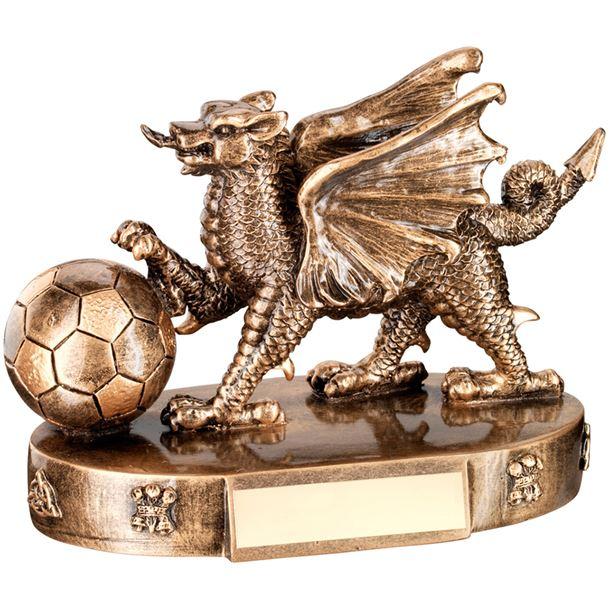 "Gold Resin Welsh Dragon Football Trophy 11cm (4.25"")"
