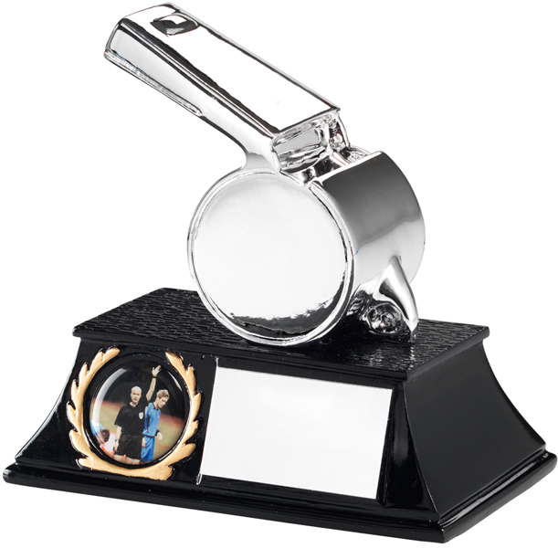 "Silver Metallic Resin Whistle Trophy on Black Base 11cm (4.25"")"