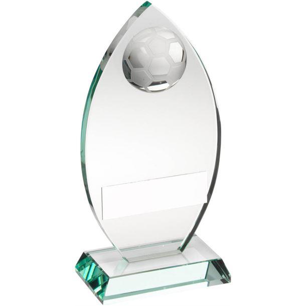 """Football Flame Shaped Jade Glass Plaque Award 21.5cm (8.5"""")"""