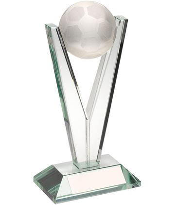 "Football V-Shaped Column Jade Glass Award 16.5cm (6.5"")"
