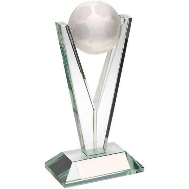 "Football V-Shaped Column Jade Glass Award 16.5cm (6.5"")"