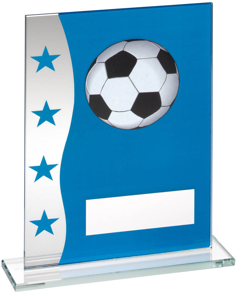 "Football Blue & Silver Star Printed Glass Plaque Award 20.5cm (8"")"