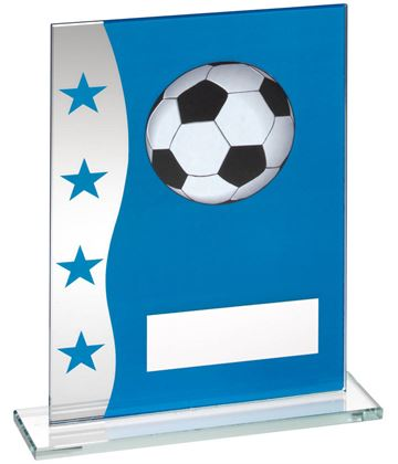 "Football Blue & Silver Star Printed Glass Plaque Award 20.5cm (8"")"