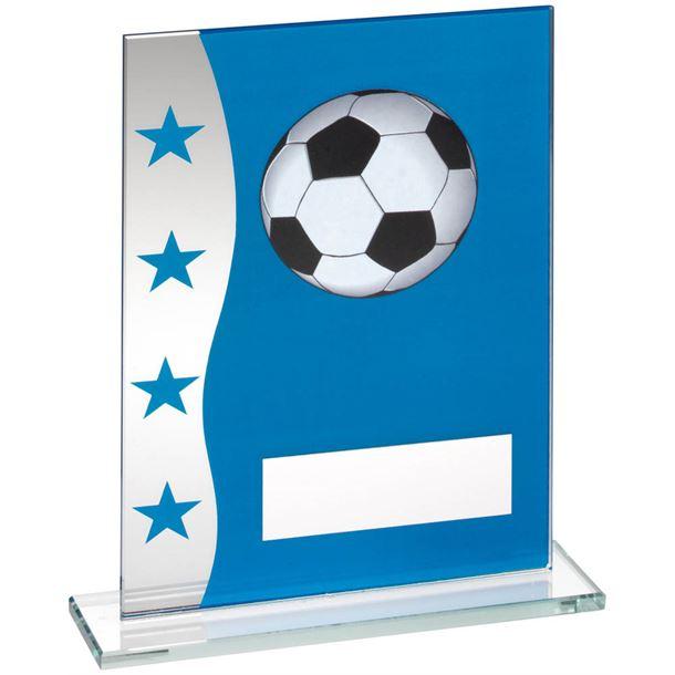 "Football Blue & Silver Star Printed Glass Plaque Award 16.5cm (6.5"")"