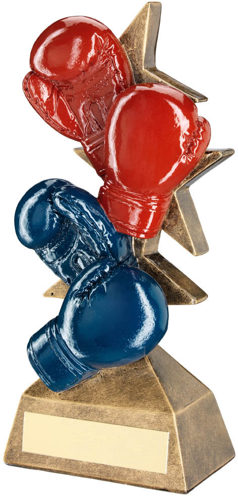"Set Of Boxing Gloves Trophy Red, Blue & Bronze 16.5cm (6.5"")"