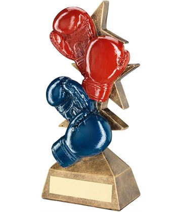 "Set Of Boxing Gloves Trophy Red, Blue & Bronze 20.5cm (8"")"
