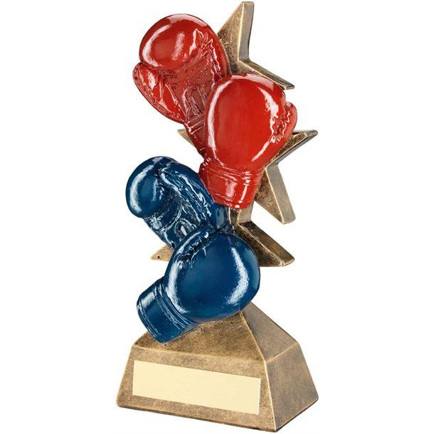 """Set Of Boxing Gloves Trophy Red, Blue & Bronze 16.5cm (6.5"""")"""