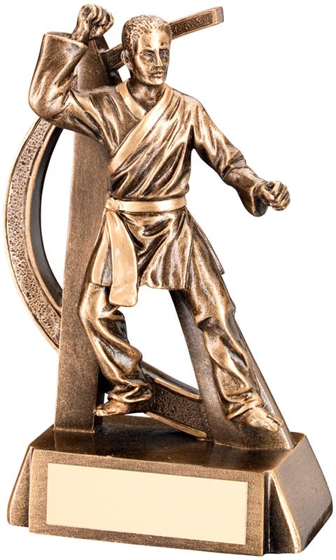 """Antique Gold Male Martial Arts Figure Trophy 17cm (6.75"""")"""