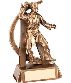 """Antique Gold Female Martial Arts Figure Trophy 15cm (6"""")"""