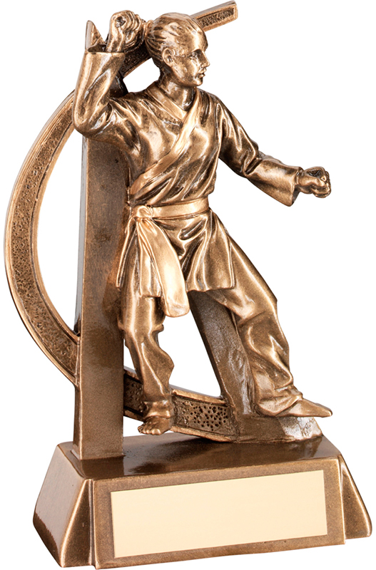 "Antique Gold Female Martial Arts Figure Trophy 17cm (6.75"")"