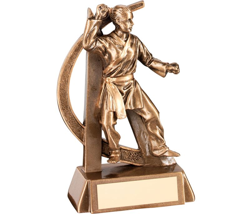 "Antique Gold Female Martial Arts Figure Trophy 15cm (6"")"