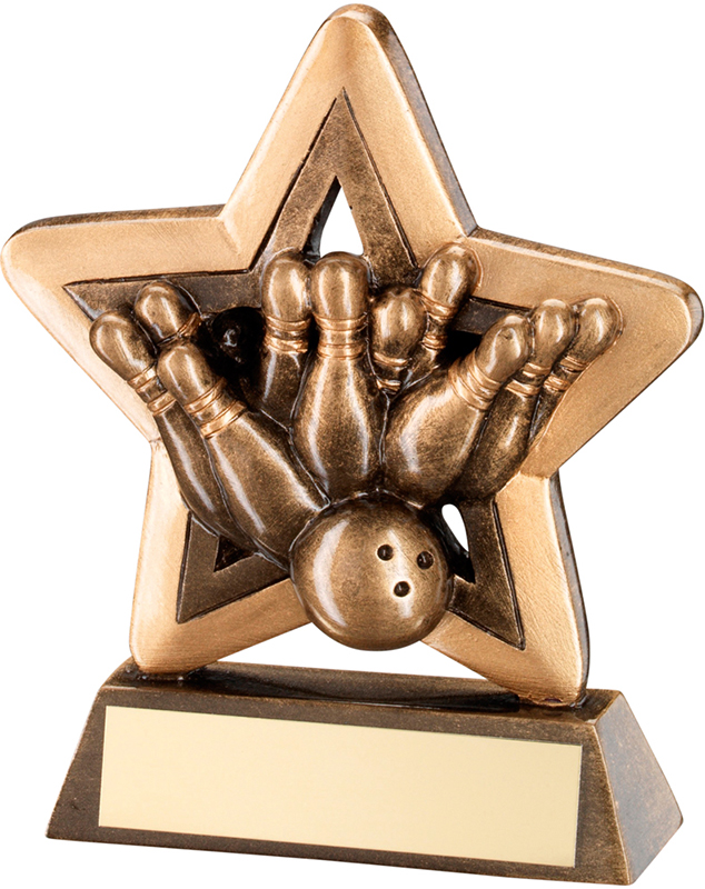 "Gold Ten Pin Bowling Mini Star Trophy 9.5cm (3.75"")"