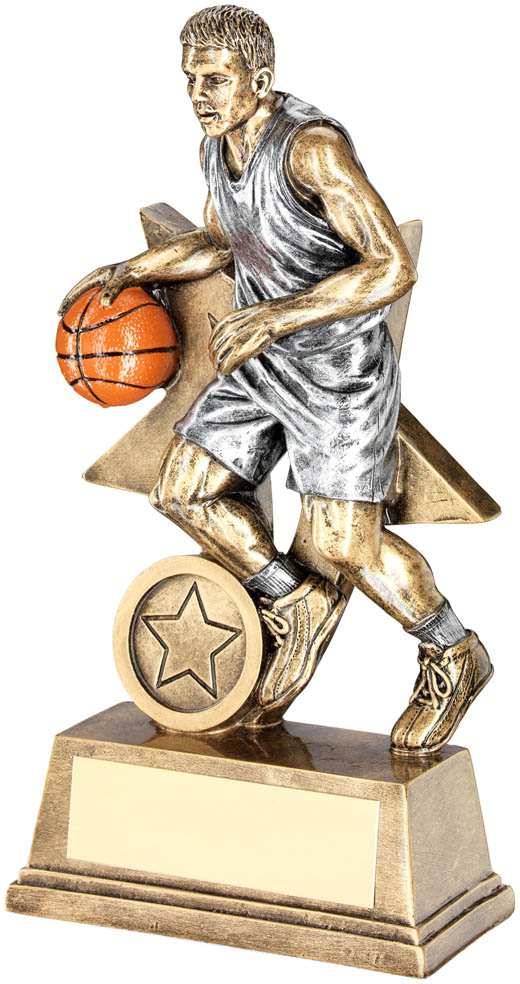 "Male Action Basketball Figure Trophy 15cm (6"")"