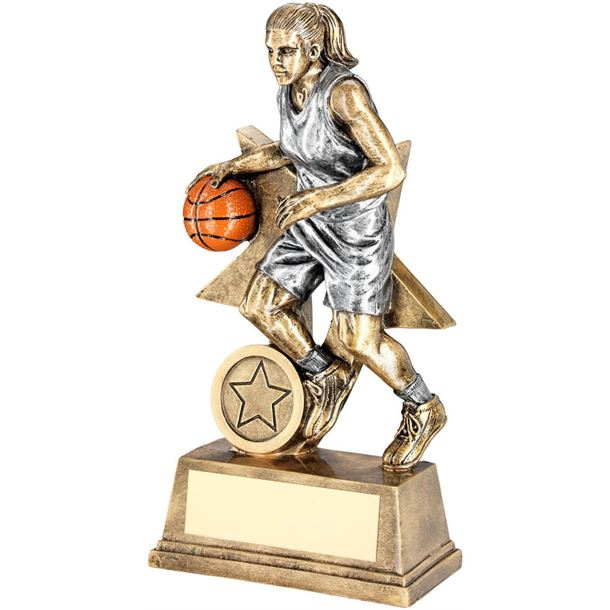 "Female Action Basketball Figure Trophy 18cm (7"")"