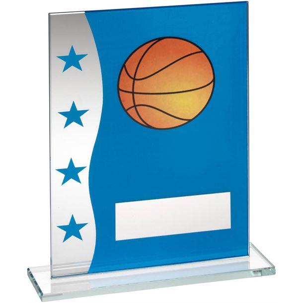 "Basketball Blue & Silver Star Printed Glass Plaque Award 18.5cm (7.25"")"