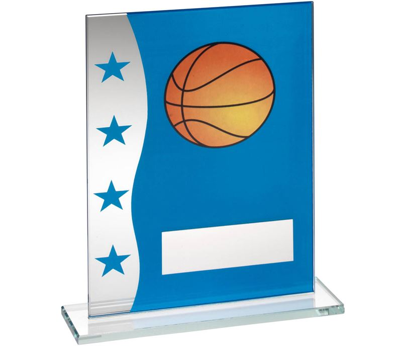 "Basketball Blue & Silver Star Printed Glass Plaque Award 20.5cm (8"")"